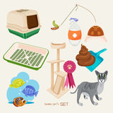 Some cute vector stuff for pets. Vector illustration of pets supplies royalty free illustration