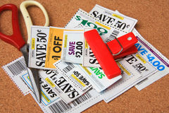 Some cutting coupons Royalty Free Stock Images