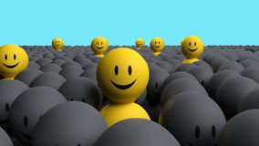 Some 3d yellow men come out from a gray crowd Stock Photo