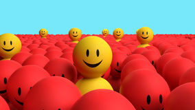 Some 3d yellow men come out from a red crowd Stock Photo