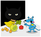 Some dangers are behind the happiness. A mice ready to eat, and a cats hiding in the dark Stock Photo