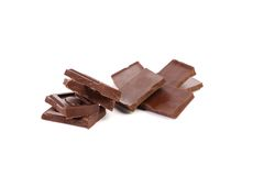 Some dark chocolate bars. Close up. White background Royalty Free Stock Photo