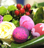 Some decorated easter eggs. Row of Easter Eggs with Daisy on Fresh Green Grass Royalty Free Stock Photos