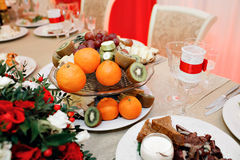Some decoration with fruit during a wedding banquet.  stock images