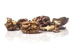 Some delicious dried walnuts horizontally. Dry pile of broken ripe walnuts Stock Photo