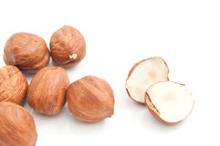 Some delicious hazelnuts. On white background closeup stock images