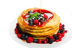 Some delicious  Pancakes with berries Stock Images