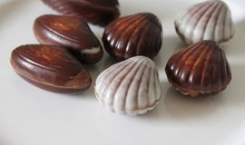 Some delicious praline. On white plate royalty free stock photo