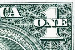 Some detail of one dollar bill in macro. High resolution photo Royalty Free Stock Photos