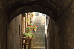 Some details of medieval Italian cities. Classical medieval streets Stock Images