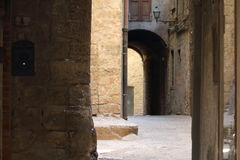 Some details of medieval Italian cities. Classical medieval streets Royalty Free Stock Photo