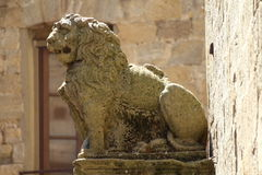 Some details of medieval Italian cities. Statue of lion Royalty Free Stock Image