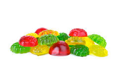 Some different colored fruit jellies. Some diferent colored fruit jellies isolated on the white background Royalty Free Stock Images