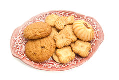Some different cookies on a plate Stock Images