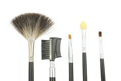 Some different kind of make-up brushes. On white Stock Image