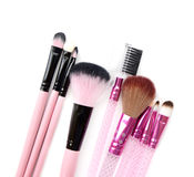 Some different kind of make-up brushes  on white. Some different kind of make-up brushes  on white Stock Images