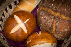 Some different kinds of bread. In basket Royalty Free Stock Images