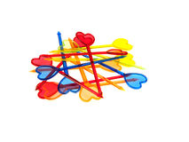 Some different sandwich-type skewers. Some different multi-coloured sandwich-type skewers isolated on a white background Royalty Free Stock Images