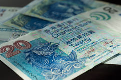 Some 20 dollar Hong Kong banknotes. Close up Stock Image
