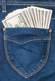 Some Dollars In Pocket Of Jeans Royalty Free Stock Image