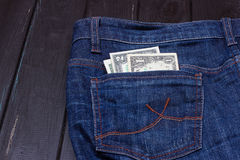 Dollars in a pocket of jeans Royalty Free Stock Photography
