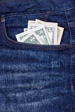 Dollars in a pocket of jeans Royalty Free Stock Image