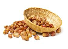 Some dried dates. Isolated on white background Stock Photos