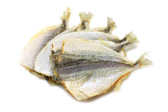 Some dried fish. On a white background stock photos