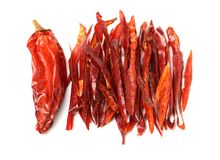 Some dried red Chili Peppers. On white background Royalty Free Stock Photo