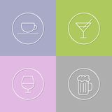 Some drinks linear icons set 01 Stock Photo