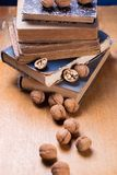 Walnuts on old book. Some dry walnuts on old retro book in studio Royalty Free Stock Photography