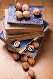 Walnuts on old book. Some dry walnuts on old retro book in studio Royalty Free Stock Image