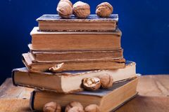 Walnuts on old book. Some dry walnuts on old retro book in studio Stock Photography