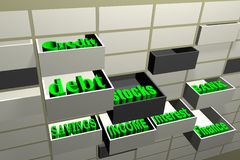 Some economy words in drawer. About debt,credit,stocks,finance etc royalty free stock photo