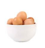 Some eggs in white bow. On white background Royalty Free Stock Image