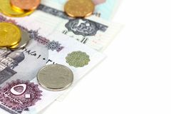 Some egyptian pound bank notes and coins with copy space. On the right side stock photography