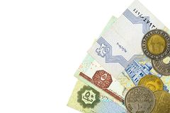 Some egyptian pound bank notes and coins. With copyspace stock photos