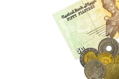 Some egyptian pound bank notes and coins. With copyspace royalty free stock photo