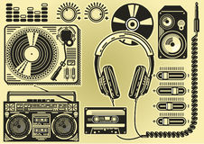 Some elements of music party DJ Stock Photography