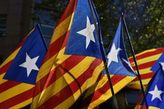 Some estelada, the catalan pro-independence flag Royalty Free Stock Photo
