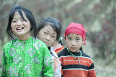 Some Ethnic minority children at Lung Cam village royalty free stock photography