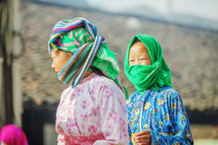 Some Ethnic minority woman at old Dong Van market. Ha Giang province, Vietnam. Ha Giang is one of the six poorest provinces of Vietnam. Ha Giang is a famous Royalty Free Stock Photography