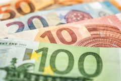 Some euro bank notes stock image