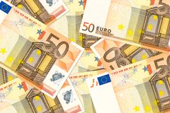 Some 50 euro bank notes. Specimen royalty free stock images