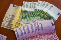 Some Euro Banknotes. A bunch of euro banknotes of diffetent denomination stock photography