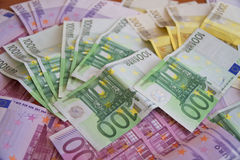 Some Euro Banknotes. A bunch of euro banknotes of diffetent denomination royalty free stock photo