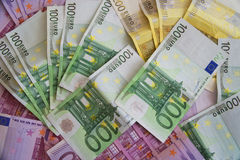 Some Euro Banknotes. A bunch of euro banknotes of diffetent denomination royalty free stock images