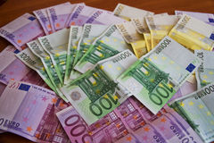 Some Euro Banknotes. A bunch of euro banknotes of diffetent denomination stock image