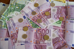 Some Euro Banknotes. A bunch of euro banknotes of diffetent denomination stock images