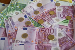 Some Euro Banknotes. A bunch of euro banknotes of diffetent denomination stock photo
